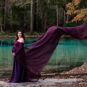 Sew Trendy Lexcie Large Plum Purple Maternity Gown and Dress