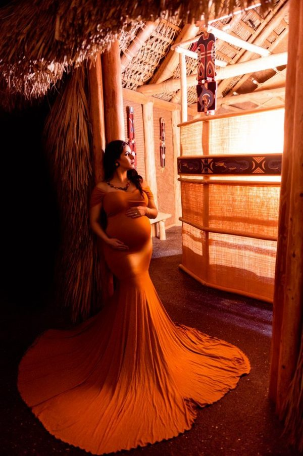 Chicaboo Athena Medium Gold Yellow Maternity Gown and Dress