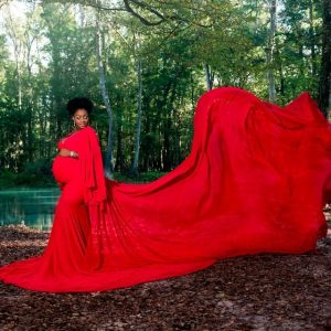 J & L Designs Rowan Red Maternity Gown Rental - Camera Ready Couture