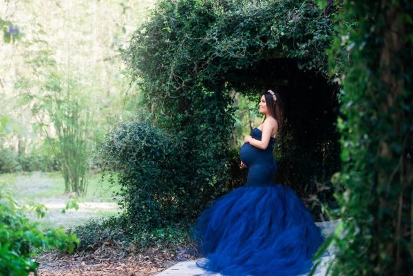 Sew Trendy Celine Small Navy Blue Maternity Gown and Dress