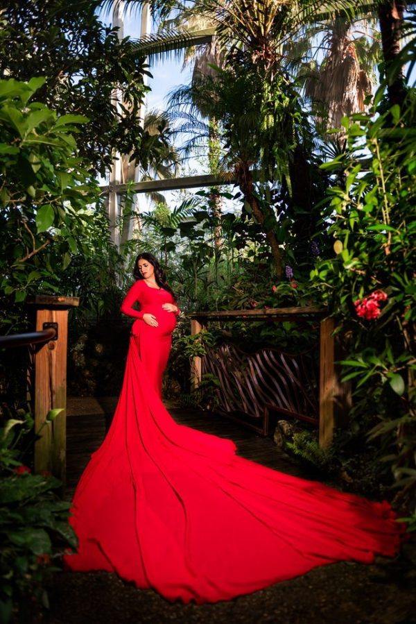 J & L Designs Katheryn Small Red Maternity Gown Rental - Camera Ready Couture