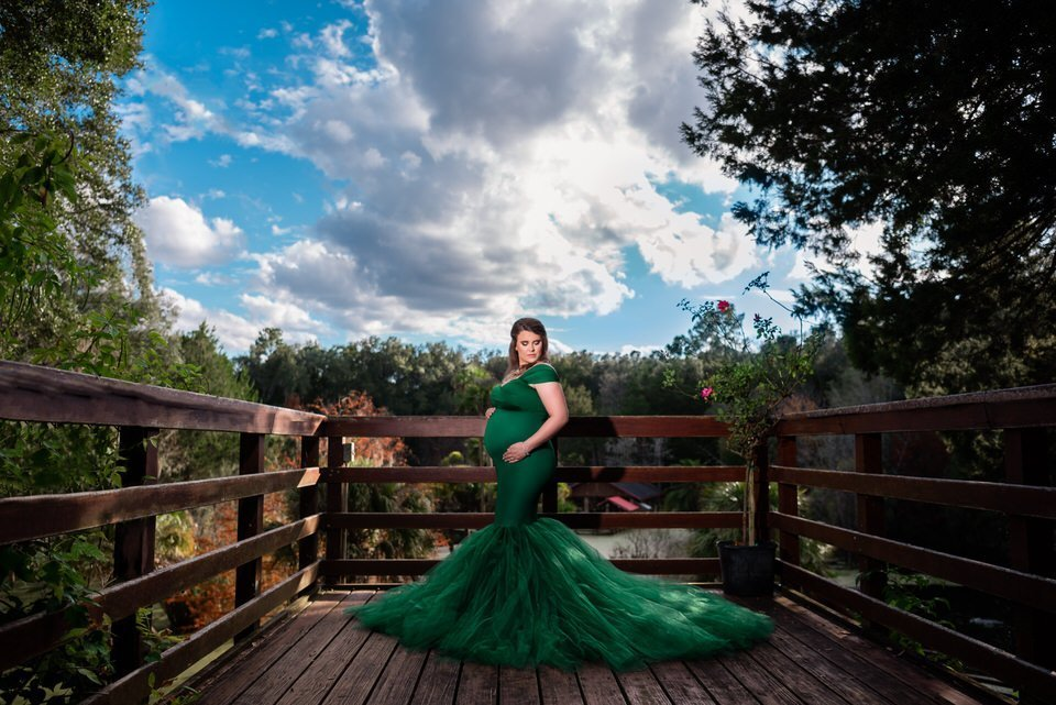 Chicaboo Ariel Medium Emerald Green Maternity Gown and Dress