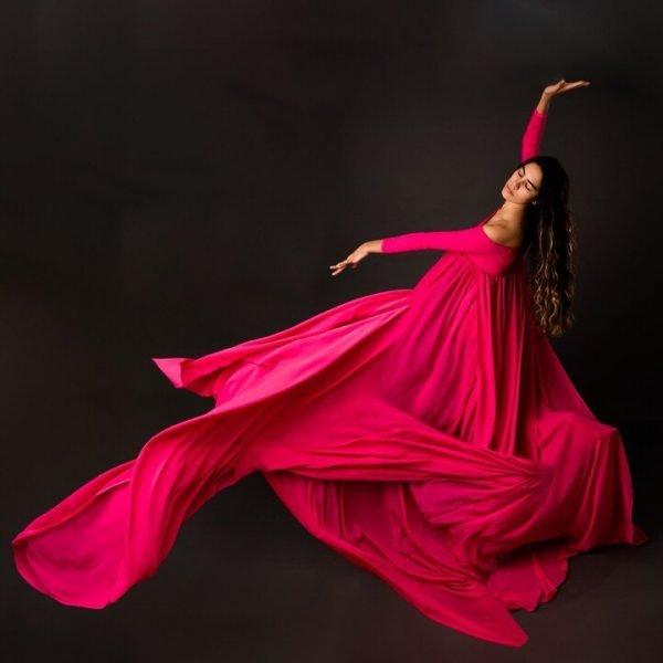 CRC Custom Split Belly Maternity Gown Rental XS X-Small Hot Pink