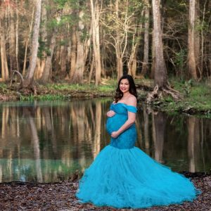 Miss Madison Boutique Charlotte Medium Turquoise Maternity Gown and Dress