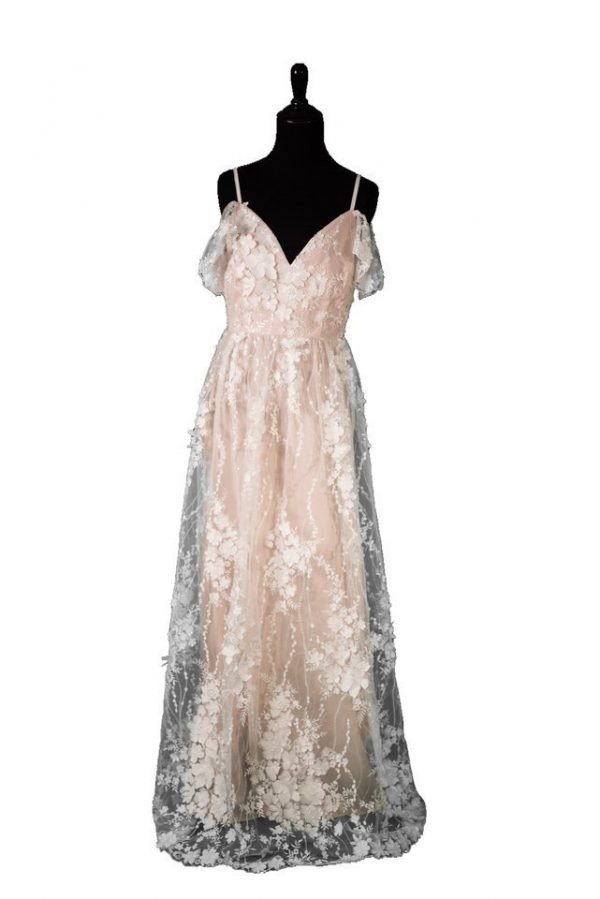 PinkBlush Ivory Embroidered Floral Evening Gown Medium Maternity Gown and Dress