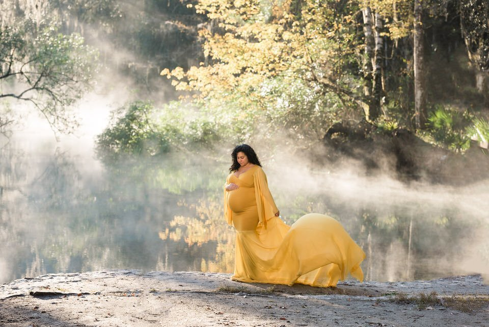 J & L Designs Rowan Gold Maternity Gown Rental - Camera Ready Couture