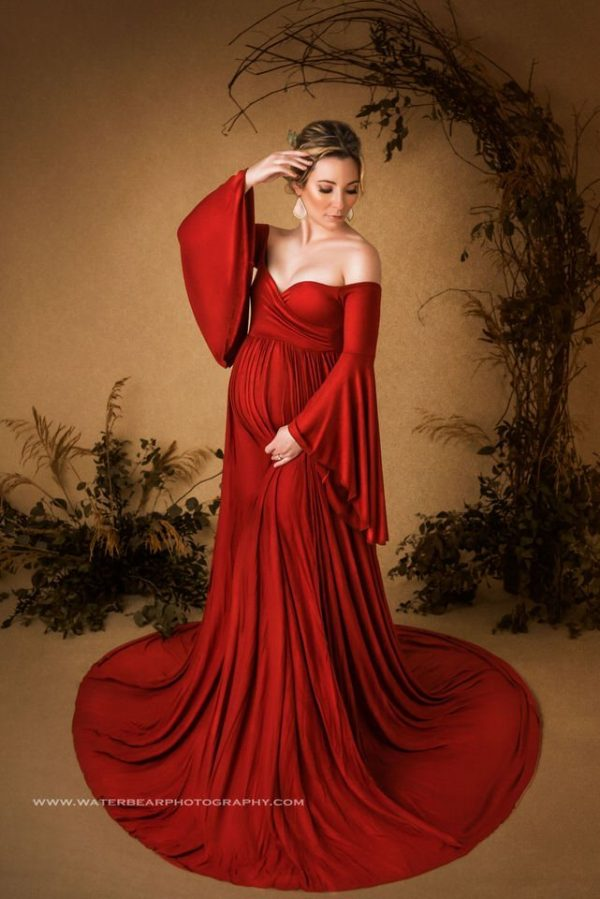 Sew Trendy Wren X-Small Brick Red Maternity Gown and Dress